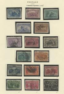 #230-245 1893 COLUMBIAN SET 1c - $5 VF+ USED NICE QUALITY CV $4,740+ WLM7013