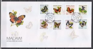Malawi, Scott cat. 706-713. Butterflies issue. First day cover. ^