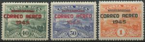 Costa Rica 1945 MNH Airmail Set | Scott C117-C119 | Overprinted Telegraphs