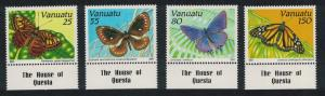 Vanuatu Butterflies 4v Bottom Margins SG#564-567 SC#532-535