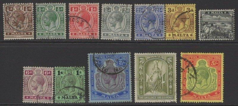 MALTA SG69/88 1914-21 DEFINITIVE SET FINE USED