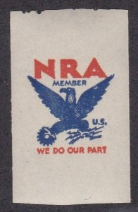 NRA Member Label, Eagle with Lightning Bolts, Mint Never Hinged