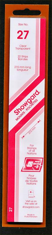 Showgard Stamp Mounts Size 27/215 CLEAR Background Pack of 22