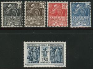 FRANCE Scott 258-262 MH* 1931 Colonial Expo set CV$60