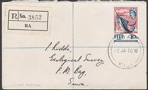 FIJI 1970 Registered cover ex BA - cds used at Civic Centre................54482