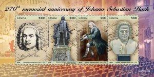 LIBERIA - 2020 - Johann Sebastian Bach - Perf 4v Sheet   - Mint Never Hinged