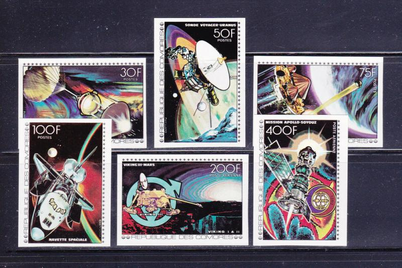 Comoro Islands 275-280 Imperf Set MNH Space