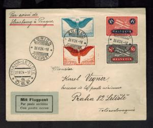 1924 Zurich Switzerland to Prague Czechoslovakia Airmail Cover # C8-C11