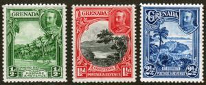 Grenada KGV 1934 Selection SG135, SG136a, SG139 Mint Lightly Hinged