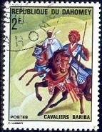 Bariba Warrior, Two Horsemen, Dahomey stamp SC#278 used