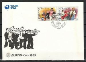Faroe Is., Scott cat. 125-126. Europa-Music Year issue. First day cover.