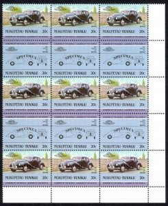 Tuvalu Nukufetau Sc# 5 MNH Blocks/15 SPECIMEN 1984-1985 20c Automobiles