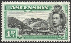 ASCENSION-1938-53 1d Black & Green Sg 39 MOUNTED MINT V38063