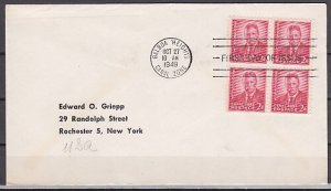 Canal Zone, Scott cat. 138. T. Roosevelt, Block of 4. First day cover. ^
