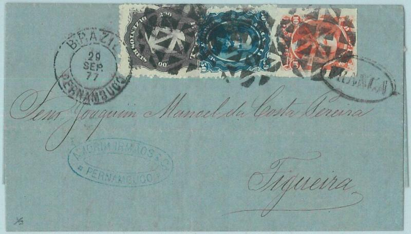 68779 -  BRAZIL - Postal History - COVER from MACEIO Pernambuco to PORTUGAL 1877