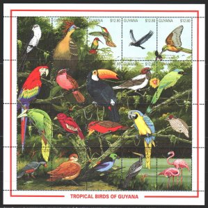 Guyana. 1990. Small sheet 3427-46. Birds of South America, fauna. MNH.