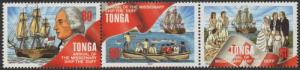 Tonga 1997 SG1389a 80s Christianity strip of 3 MNH