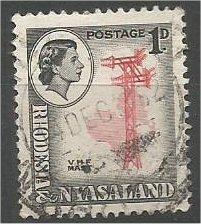 RHODESIA & NYASALAND, 1959, used 1p, V. H. F. Mast, Scott 159