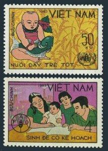 Viet Nam 1321-1322,MNH.Mi 1379-1380. World Food Day,1983.Infant,fish,Family.