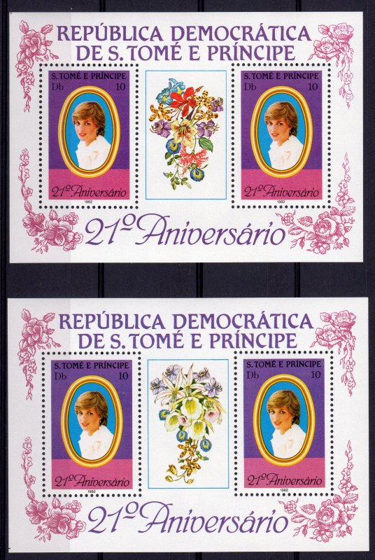 Sao Tome and Principe 1982 DIANA-ORCHIDS 1st.Edition S/S PURPLE PERFORATED MNH