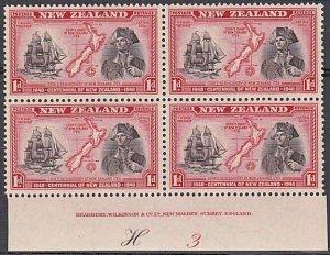NEW ZEALAND 1940 Centenary 1d Captain Cook plate block MNH CP cat NZ$40.....K545