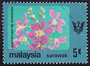 Sarawak # 250 used ~ 5c Flower, State Crest