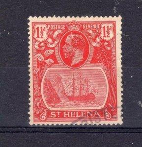 St Helena 1923 1 1/2d broken mast FU CDS
