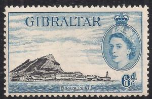 Gibraltar 1953 - 59 QE2 6d Blue Europa Point Lmm SG 153a ( M1258 )