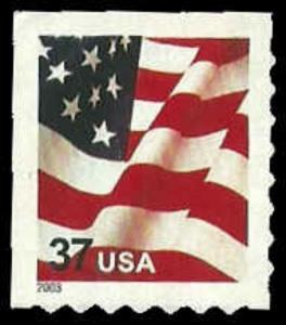 US #3637 ATM Sgl 37c Flag, 2003, MNH, (PCB-3)