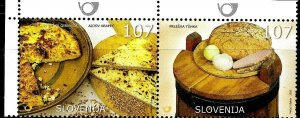 #941 SLOVENIA 2005 TYPICAL MEALS FOODS YV 492-3 MNH