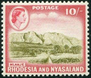 RHODESIA & NYASALAND-1959-62 10/- Olive-Brown & Rose-Red Sg 30 LMM V48372