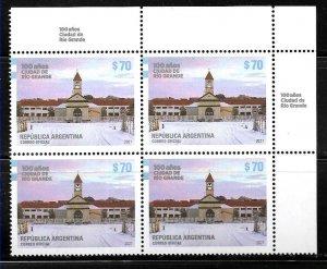 #10038 ARGENTINA 2021 RIO GRANDE CITY ARCHITECTURE,RELIGION,MNH BLOC OF 4