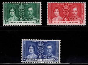 Falkland  Islandss Scott 81-83 MH* Coronation set 1937