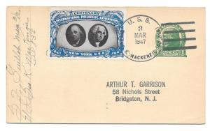CIPEX Cinderella Tied UX27 1947 Navy Ship Cancel USS Geo K Mackenzi Poster Stamp