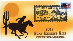 19-091, 2019, Pony Express Ride, Pictorial Postmark, Event Cover, Pioneertown CA