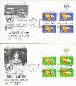 1961 FDC, #95-96 (NY), Economic Commission for Africa, Art Craft, inscription B4