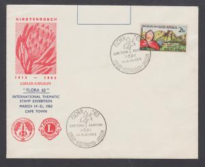 South Africa Sc 284, 1963 2½c Red Disa Orchid, Kirstenboch Gardens Jubilee FDC