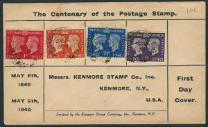Great Britain, Scott #253, 255-257, Stamp Centenary on Kenmore Stamp Co. F.D.C.