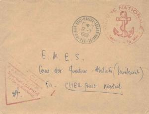 France Military Free Mail 1969 83-Base Sous-Marins-Toulon-Marine, Var to Cher...