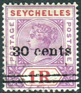 SEYCHELLES-1902 30c on 1r Bright Mauve & Deep Red.  A fine used example Sg 43