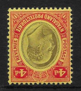 NYASALAND SG76w 1908 4d BLACK & RED ON YELLOW MTD MINT INV WMK