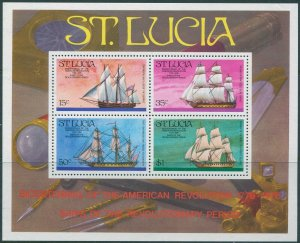 St Lucia 1975 SG414 American Revolution Ships MS MNH
