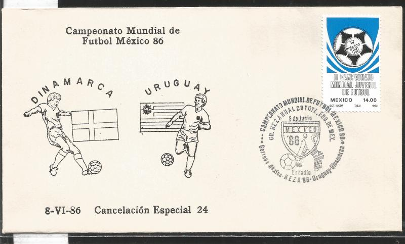 J) 1983 MEXICO, DENMARK-URUGUAY, BALL, SPECIAL CANCELLATION, II WORLD YOUTH FOOT