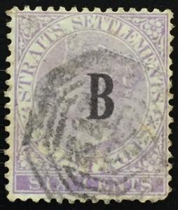Straits Settlements 1884 British PO in Siam opt QV 6c CA Used SG#19