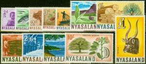 Nyasaland 1964 Set of 12 SG199-210 Fine Lightly Mtd Mint