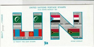 United Nations Mint Never Hinged Flags Stamps Booklet ref R 18466