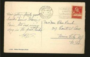 Switzerland 176 on PM 1927 Luzern 2 to USA Postcard Used