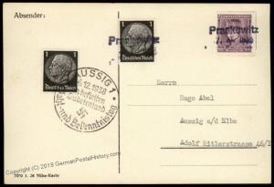 3rd Reich Germany Praskowitz Sudetenland 1938 Annexation Provisional Cover 70428