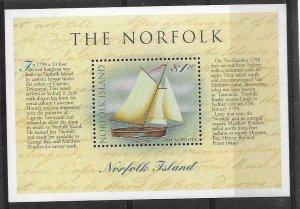 1998    NORFOLK ISLAND  -  SG.  MS  684  -  CIRCUMNAVIGATION OF TASMANIA  -  MNH