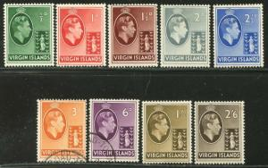 VIRGIN IS. Sc#76-84 SG110-118 1938 KGVI Part Set to 2sh6p OG Most Mint Hinged